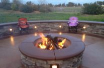 Patio, fire pit and seat wall